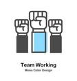 team working mono color vector image