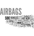 the benefits of airbags text background word vector image vector image
