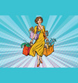 the woman bought seafood fish and crabs vector image vector image