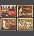 wild west retro posters western cards set vector image