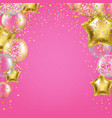 birthday banner with golden star balloons vector image
