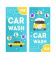 car wash service vertical banner card set vector image vector image