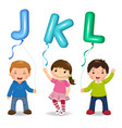 cartoon kids holding letter jkl shaped balloons vector image vector image