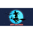cartoon silhouette of a witch flying vector image vector image