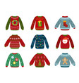 christmas holiday sweater ugly sweaters xmas vector image