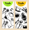cocktails soft drinks and glasses for bar vector image
