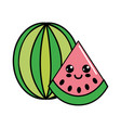 color kawaii happy watermelon icon vector image vector image