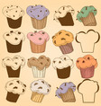 cupcakes set chocolate chips muffins vector image
