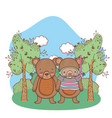 cute little bear with snorkel in the field vector image