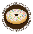 decorative frame with realistic picture donut with vector image