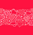 Decorative hearts horizontal pattern seamless
