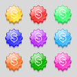 Dollar icon sign symbol on nine wavy colourful vector image vector image