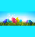 easter background with colorful eggs in green vector image