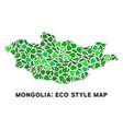 eco green mosaic mongolia map vector image vector image