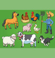 farmer and animals set vector image vector image