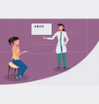 female ophthalmologist checking woman patient vector image vector image