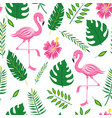 flamingo and leaves seamless pattern - tropical vector image vector image