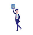 flat student graduate man with diploma vector image vector image