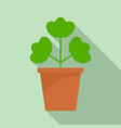 geranium pot icon flat style vector image vector image