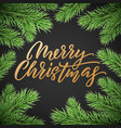 gold christmas card lettering on black background vector image vector image