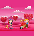 happy boys and girl in the pink garden vector image vector image