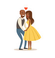 happy couple in love holding hands colorful vector image