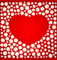 heart valentines day card white daisies on red vector image vector image