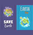 international save earth day agitation posters set vector image vector image
