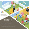 isometric nanny work template vector image vector image