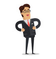 laughing businessman in flat design vector image vector image