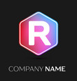 letter r logo symbol in colorful hexagonal vector image vector image