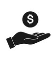 money in hand icon vector image vector image