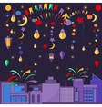Night city festive elements balls lamps stars vector image vector image