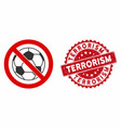 no football icon with textured terrorism stamp vector image vector image