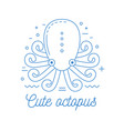 octopus line art logotype vector image