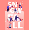 people enjoying snowfall concept happy characters vector image vector image
