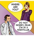 People talk on the phone comic book vector image vector image