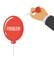 pricking red balloon with needle vector image