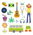 Rastafarian icons set in flat style