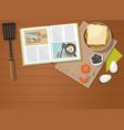 recipe book sandwich egg vegetables vector image vector image