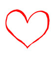 red heart isolated on white background sketch vector image vector image