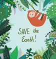 Save the Earth card with tropical forest nature vector image