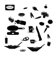 Set of black silhouettes of food and kitchen vector image vector image