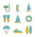 Set of water sport icons flat design isolated vector image vector image