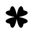 shamrock silhouette - black four leaf clover icon vector image