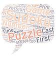 sudoku puzzle text background wordcloud concept vector image vector image