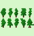 ten cubic summer trees vector image vector image