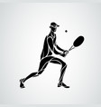 tennis player black creative silhouette vector image