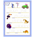 tracing letter t for study english alphabet