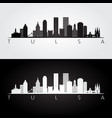 tulsa usa skyline and landmarks silhouette vector image